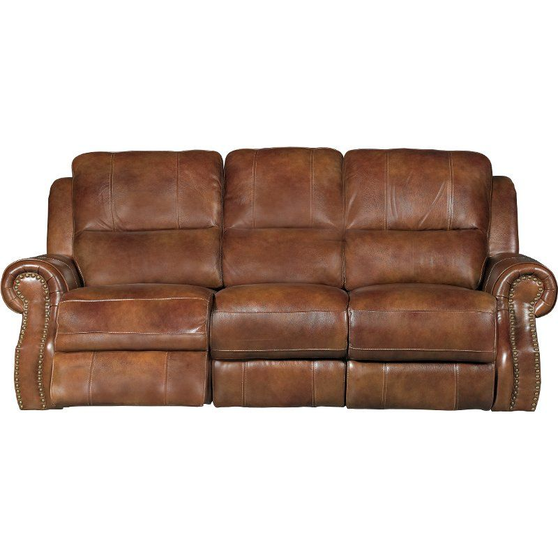 Best Chestnut Brown Leather Match Manual Dual Reclining Sofa 400 x 300