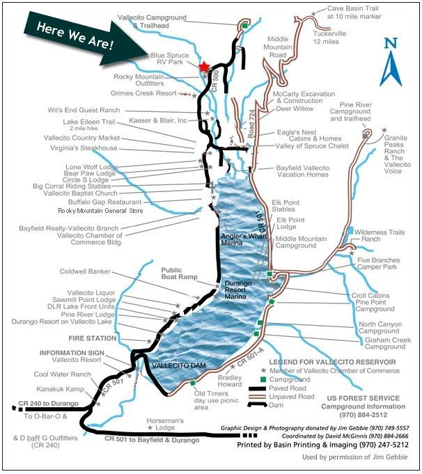 Page Map Site: Blue Spruce RV Park & Cabins