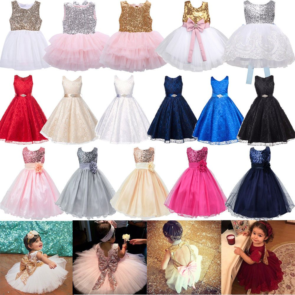 Wedding Birthday Party Formal Flower Girls Dress baby Pageant dresses Size 4-14