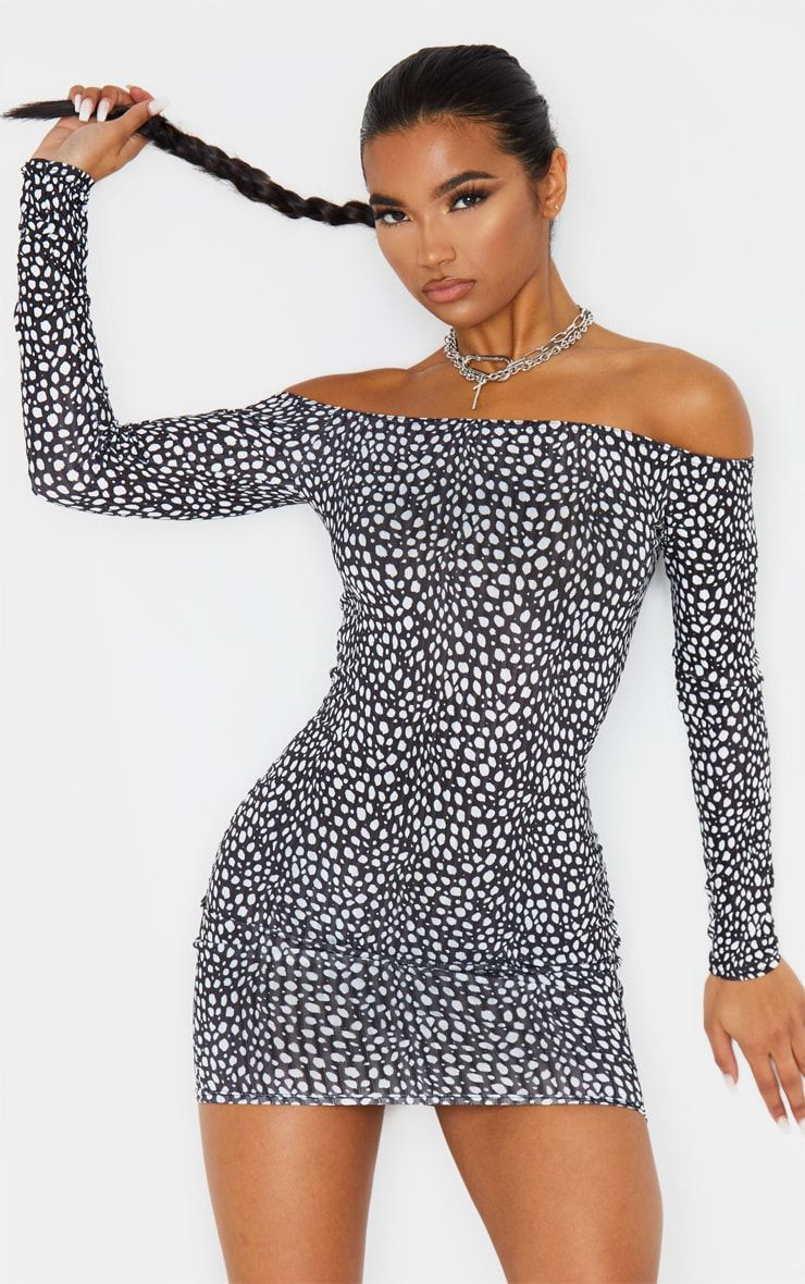 Black Dalmatian Ribbed Long Sleeve Bardot Bodycon Dress Bardot Bodycon Dress Bodycon Dress Ribbed Bodycon Midi Dress [ 1180 x 740 Pixel ]