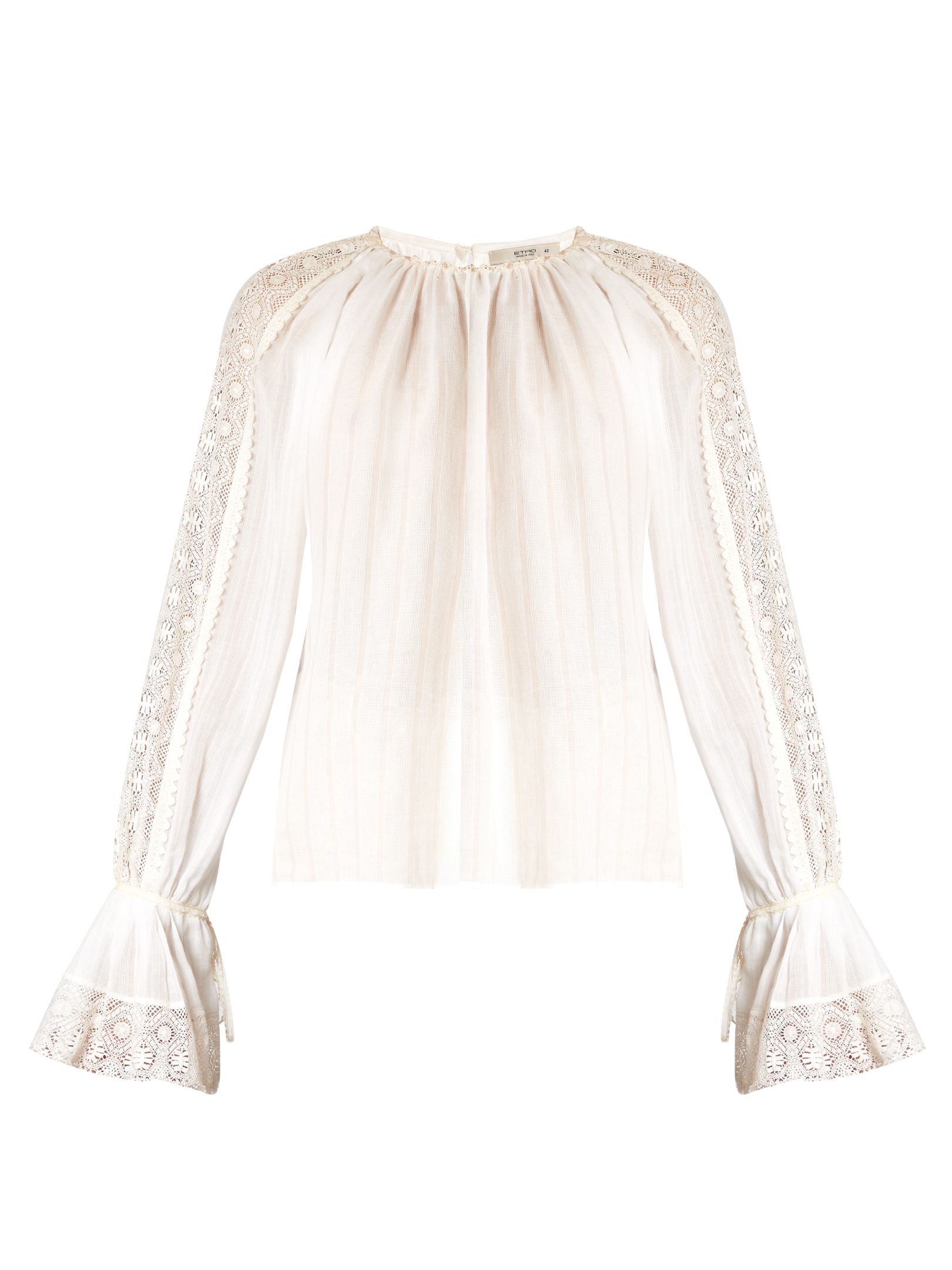 25617756cebd39 Cotton · Lace-insert bell-sleeved cotton blouse ...