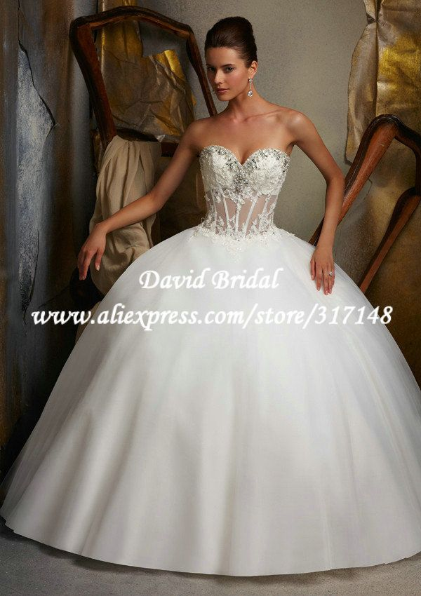 Gentil EF1371 Beaded Sweetheart Appliques Ball Gown See Through Corset Wedding  Dresses 2013 $187.63