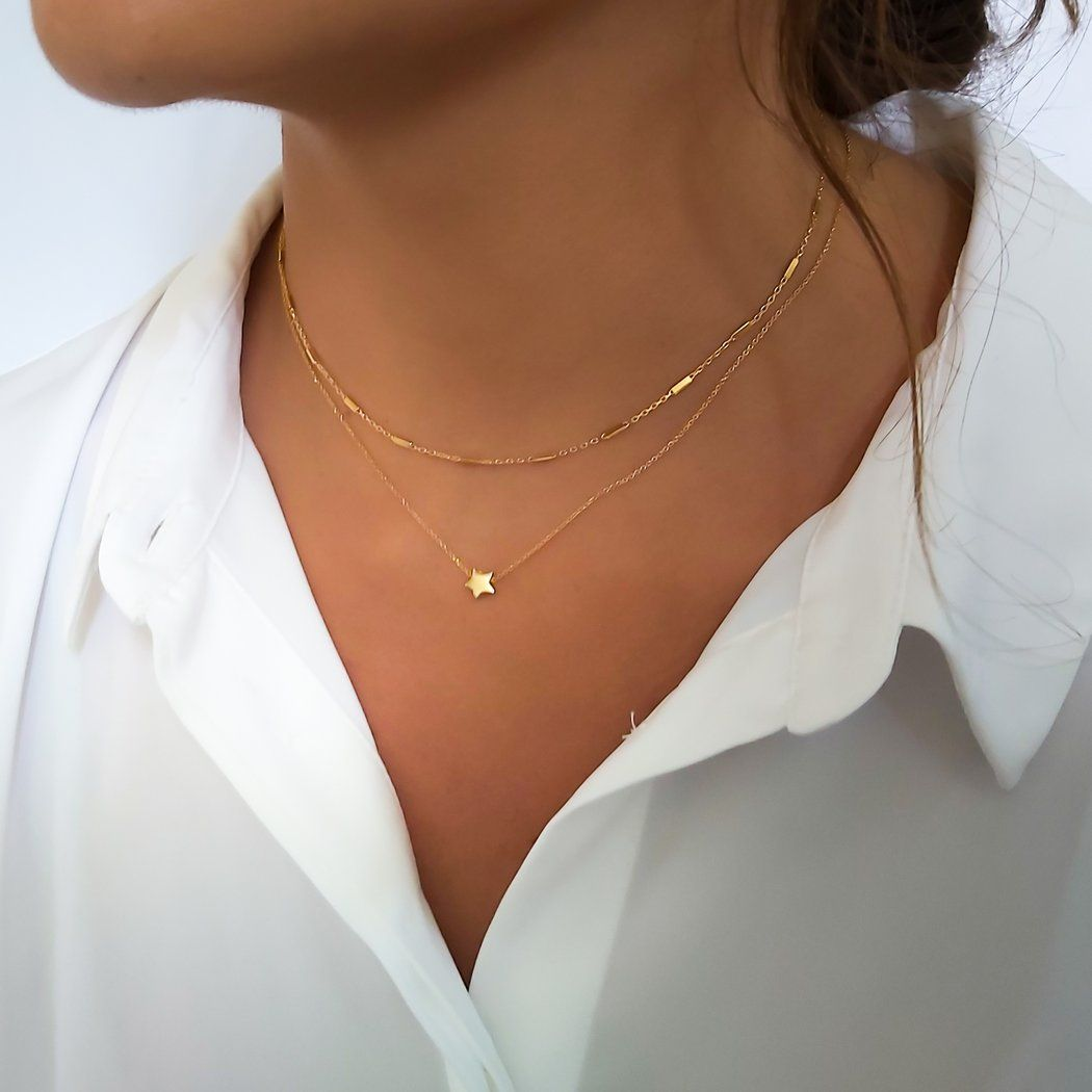Gold Chain Choker With A Tiny Rectangles Chain Gold Chain Choker Gold Necklace Women Star Necklace Gold