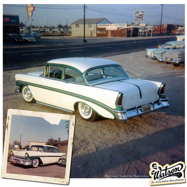 56 Chevy With Outline Paint Job In Pearl White And Blue