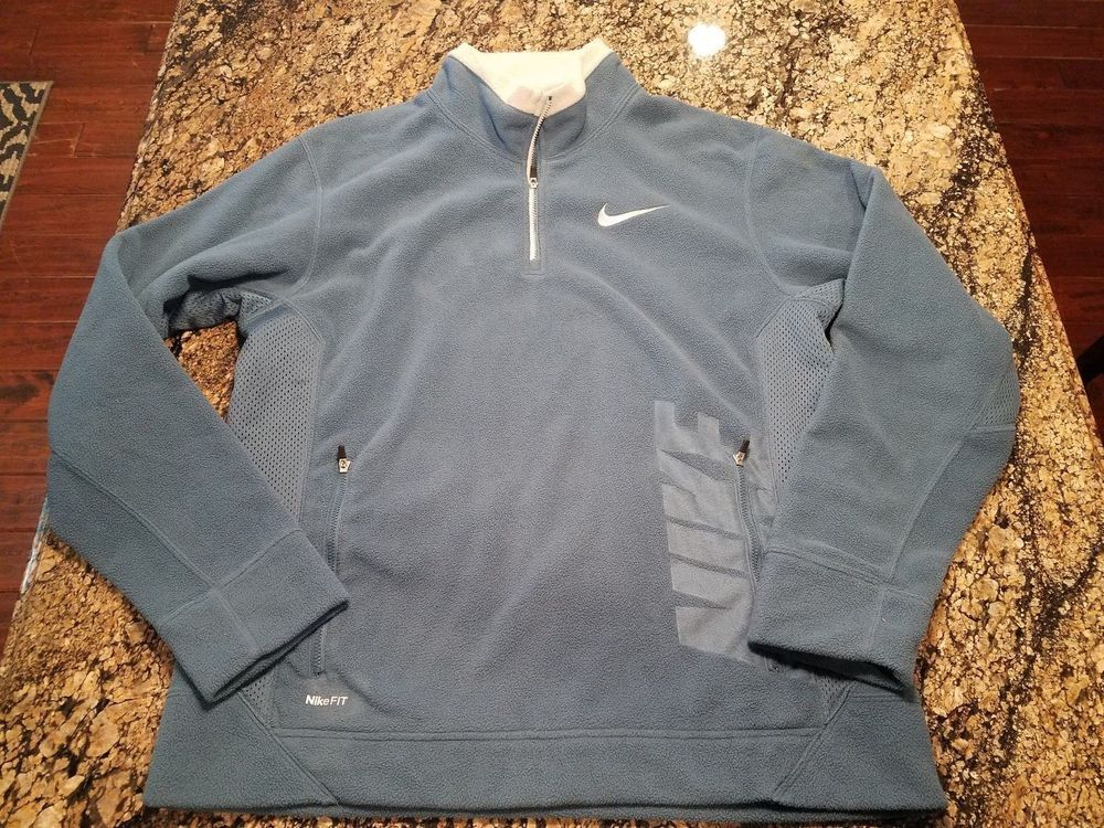 300195f8f7f9 Vintage Nike FIT THERMA Mens Blue Pullover Fleece 1 4 Zip Large L Shirt   Nike