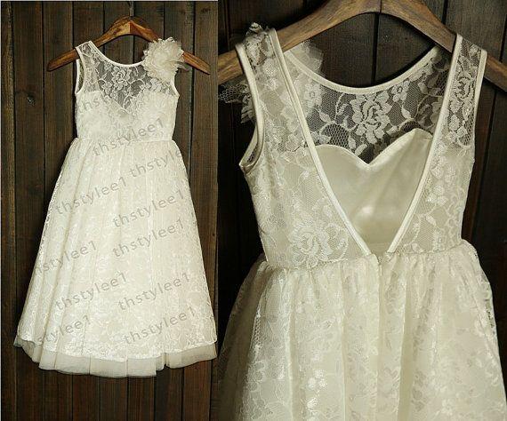 Lace Tulle Sweetheart Deep V Back Flower Girl Dress with Flower Wedding Children Easter Bridesmaid Communion Baptism Dress