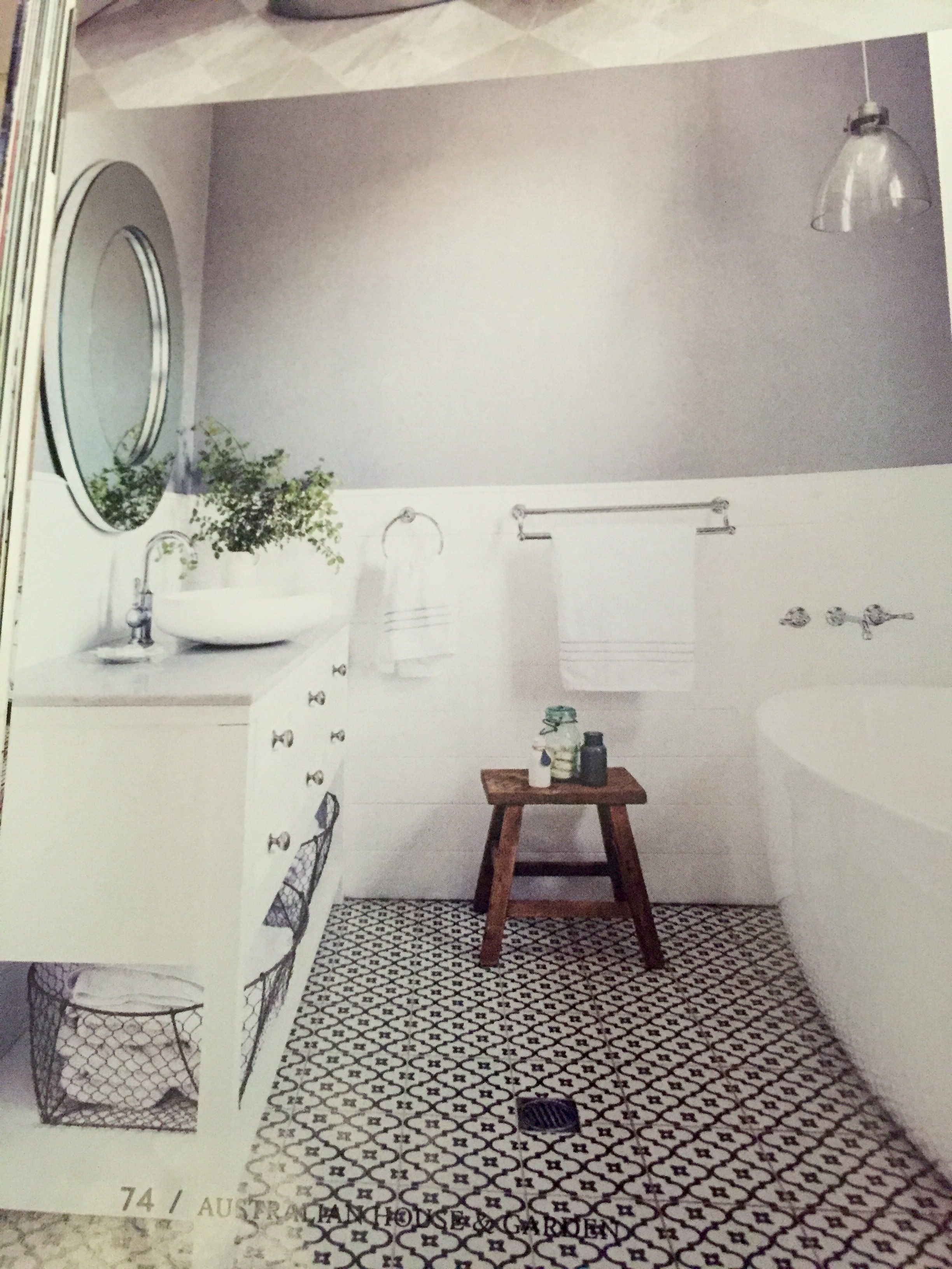 Dulux tranquil retreat for walls and classic black/white tiles and ...
