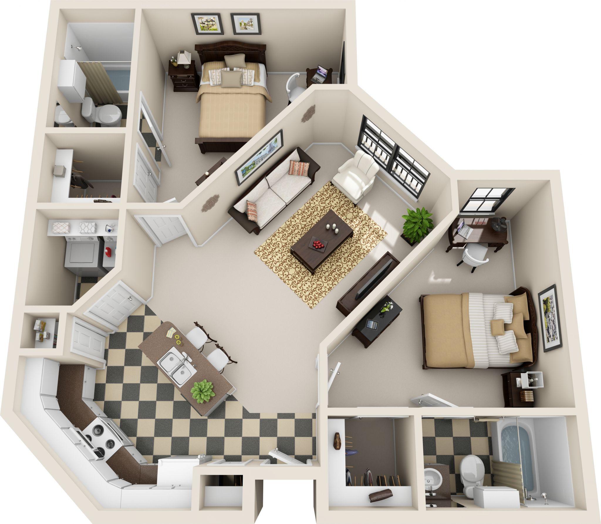 Resultado De Imagen Para 2 Bedroom 2 Bath Apartments Sims House