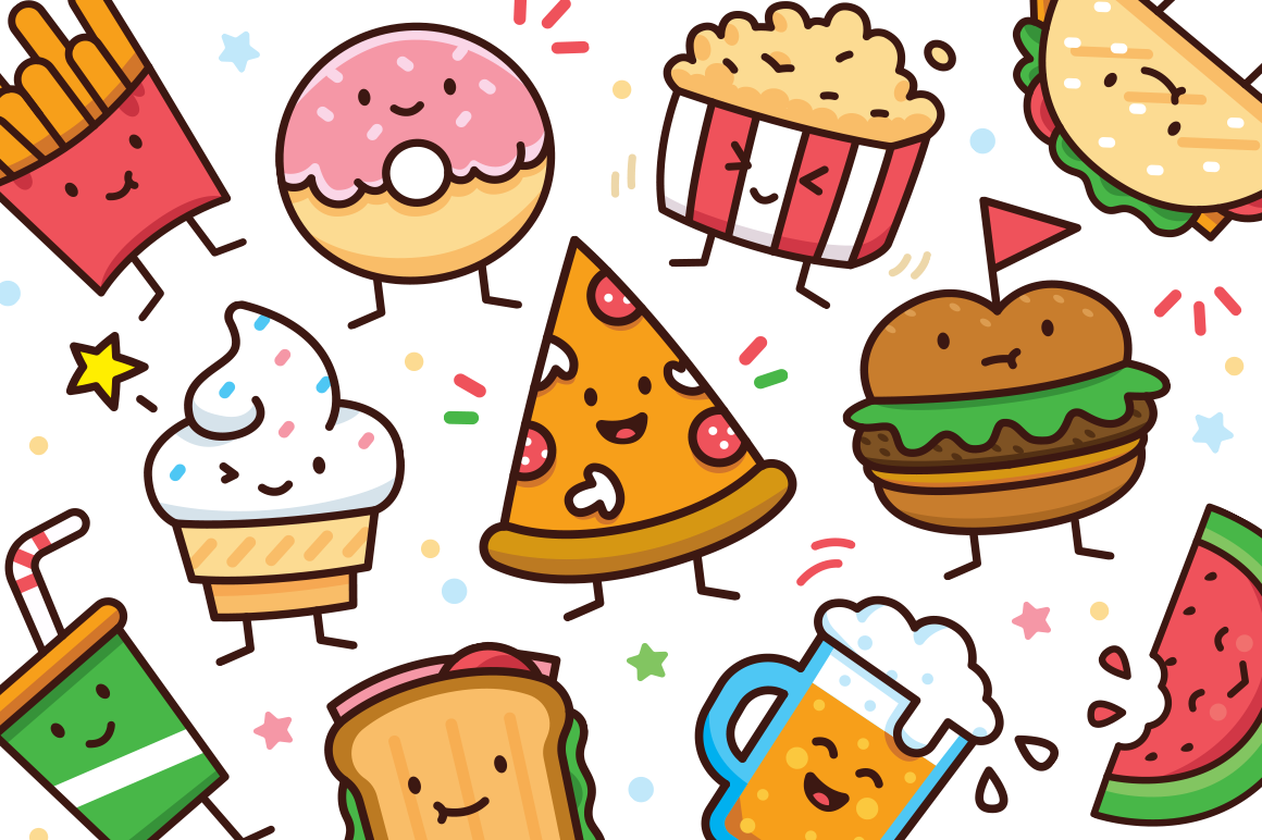 Food Doodle Graphics 12 Cute Sweet Characters Cute Food Drawings Cute Doodles Food Doodles