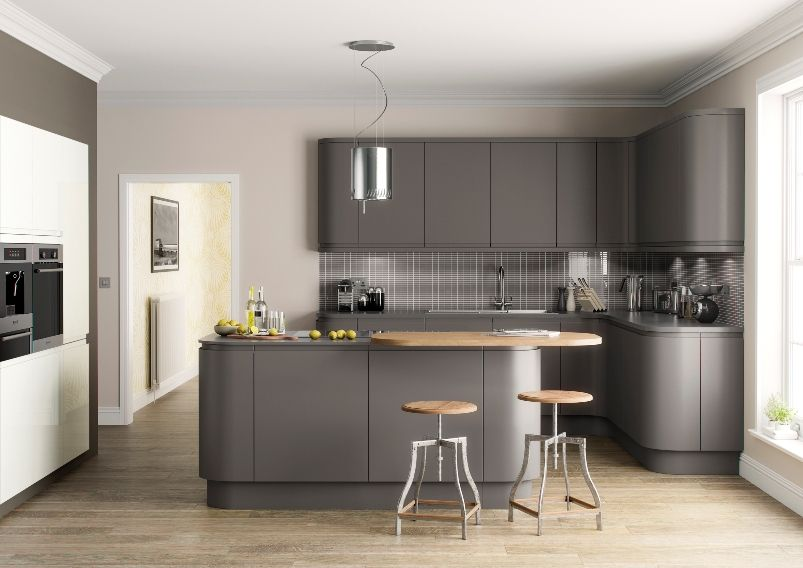 Grey kitchens dark grey matt handleless kitchens for Dark grey kitchen units