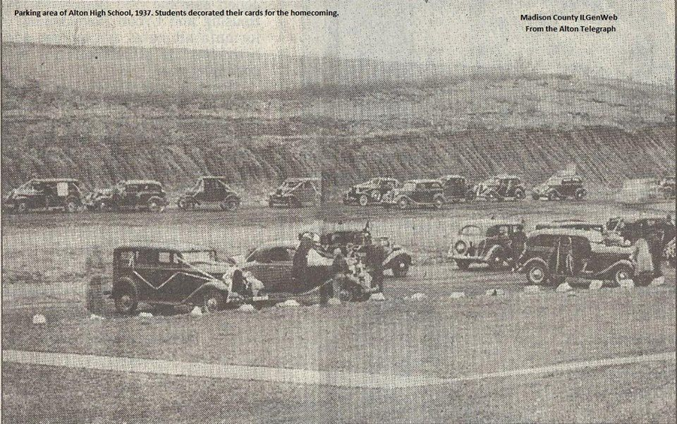 Alton High School's Pit parking area, before it was paved, and before the annex was built. in 1937.