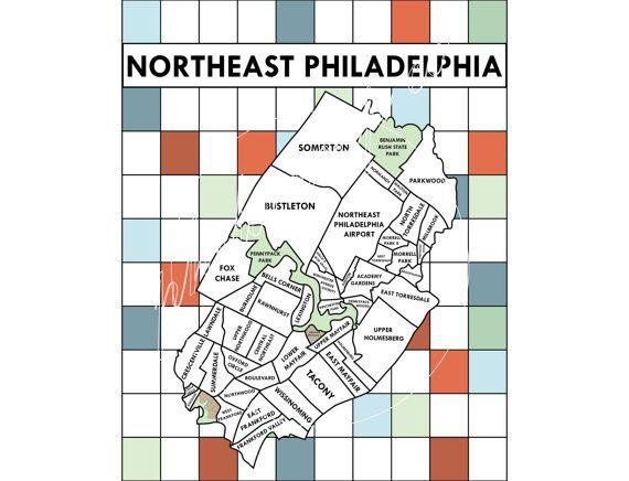 map of northeast philadelphia Northeast Philadelphia Neighborhoods Map Etsy Philadelphia map of northeast philadelphia
