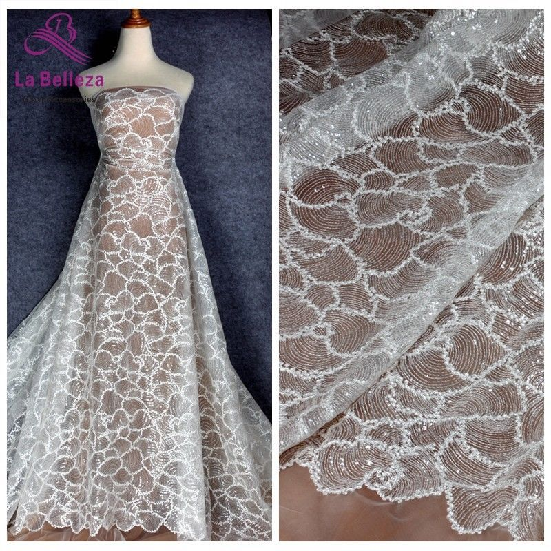 f1d482557db 1 yard wedding gown beartiful new desinge off white rayon with clear sequin  lace
