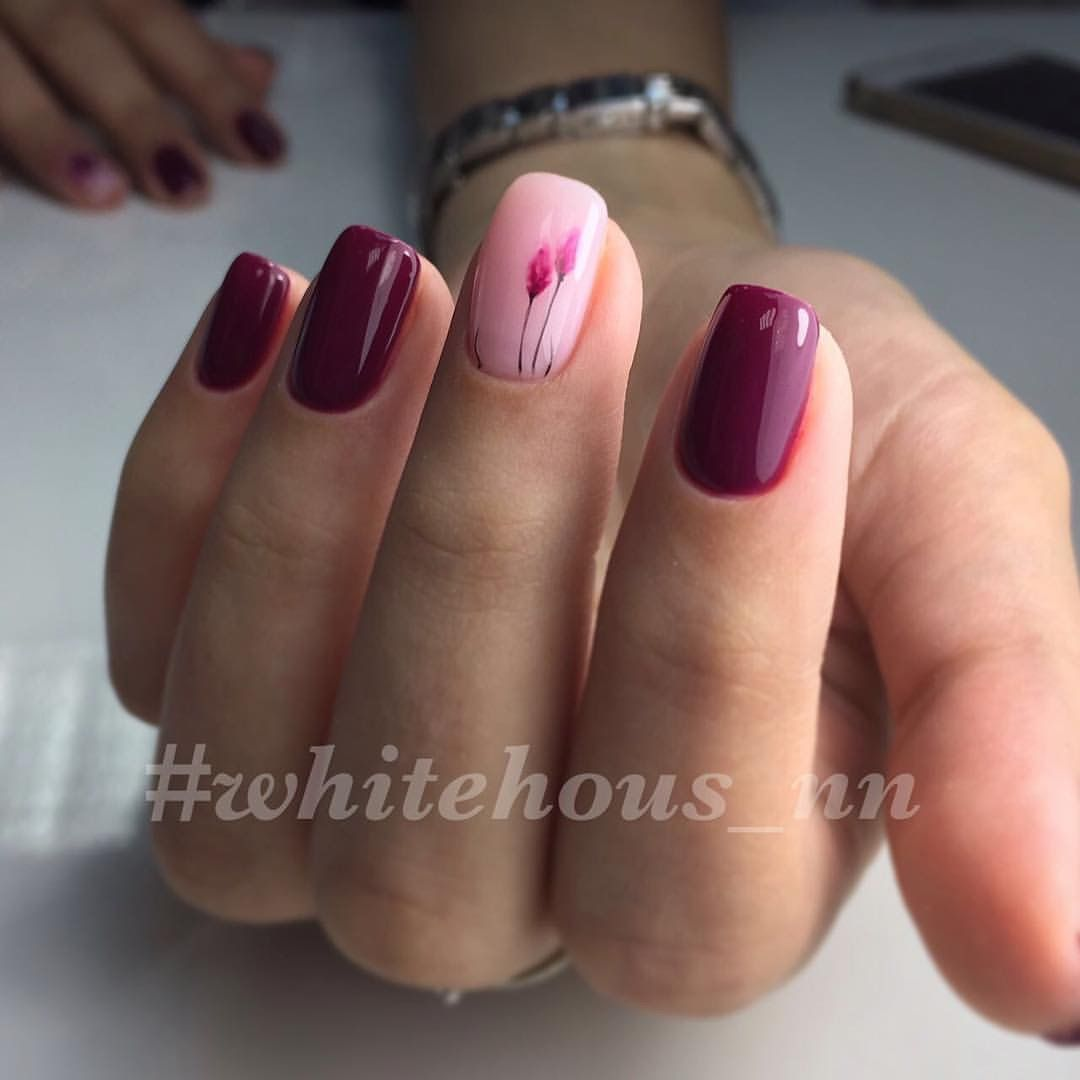 Dark Color Of Fuchsia And Pale Pink Are The Ideal Combination For Creation Such Variant Manicure It Adds Great