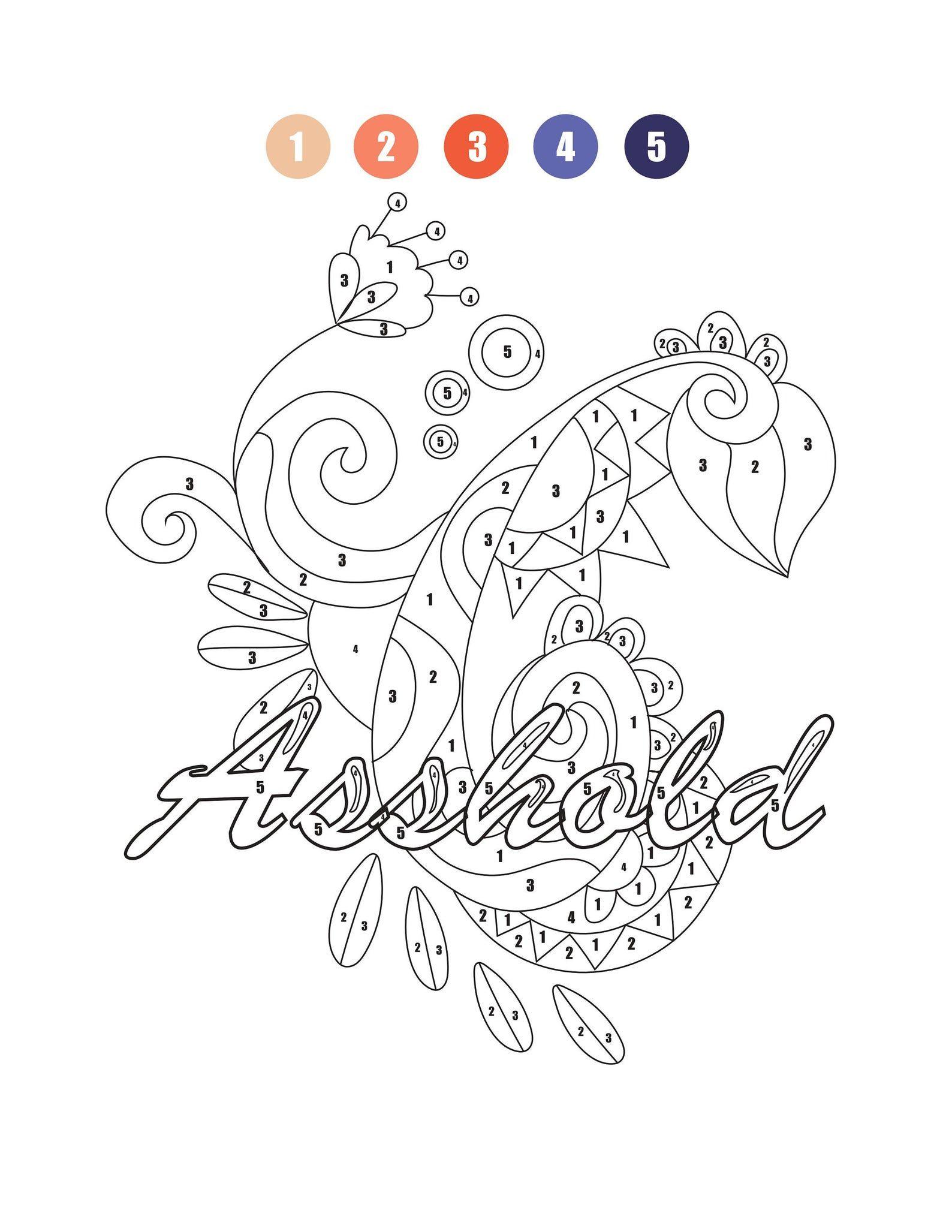 Swear Words Printables Digital Color By Numbers For Adults Etsy Color By Numbers Color By Number Printable Disney Coloring Pages