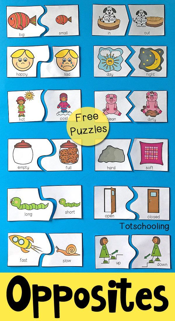 image relating to Printable Puzzles for Preschoolers named Opposites Puzzles for Preschool Kindergarten Opposites