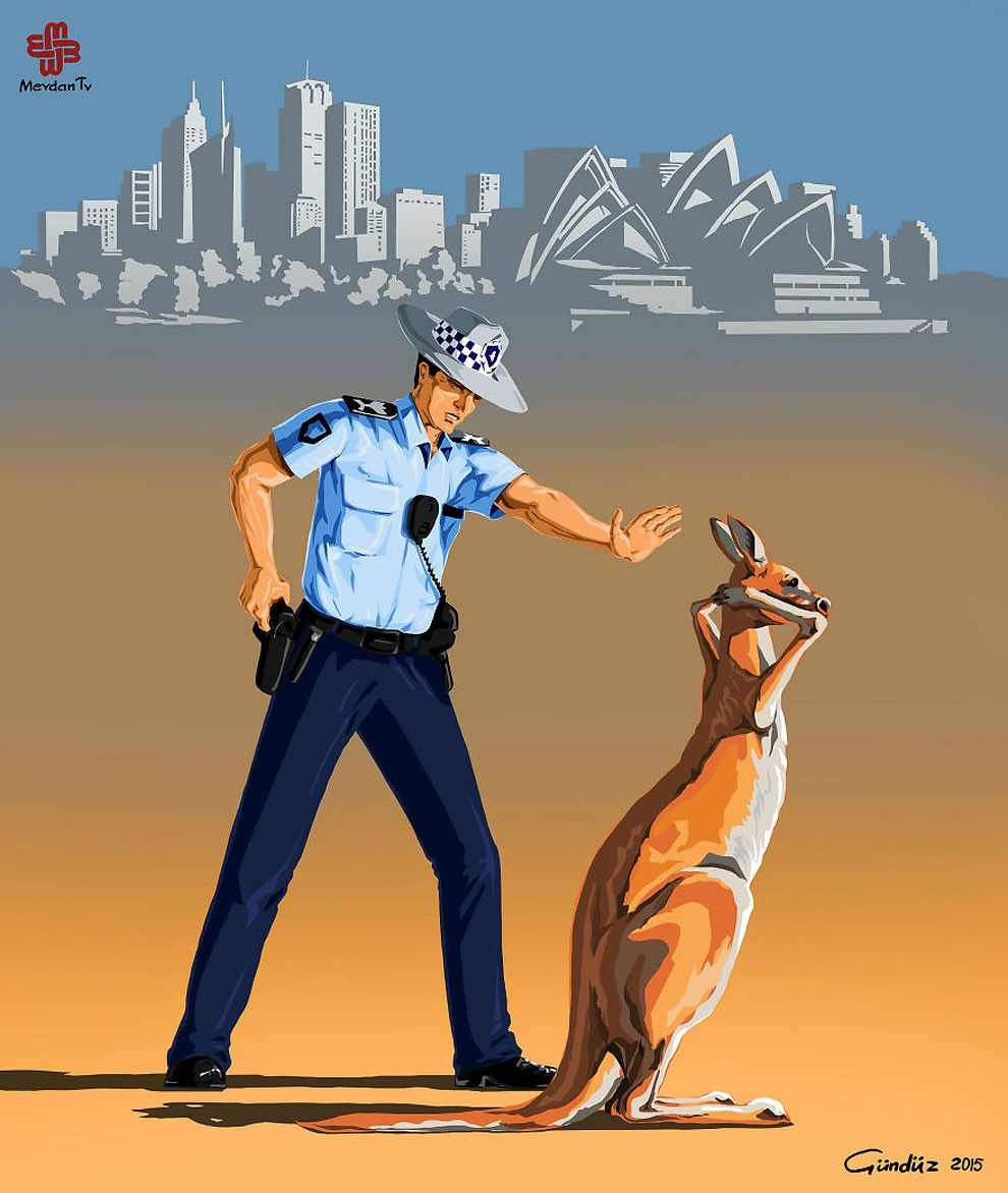 Satirical Illustrations Of Police Officers Around The World