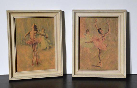 Vintage 1960s Framed Ballerina Pair Prints - Small Shabby Chic ...
