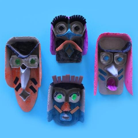 egg carton faces kids crafts by Mini Mad Things #recycledart