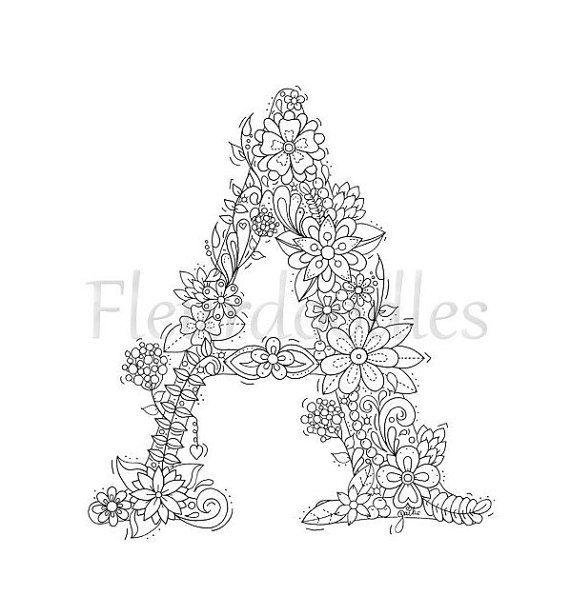 malseite zum ausdrucken buchstabe a floral von fleurdoodles embroidery pinterest adult. Black Bedroom Furniture Sets. Home Design Ideas