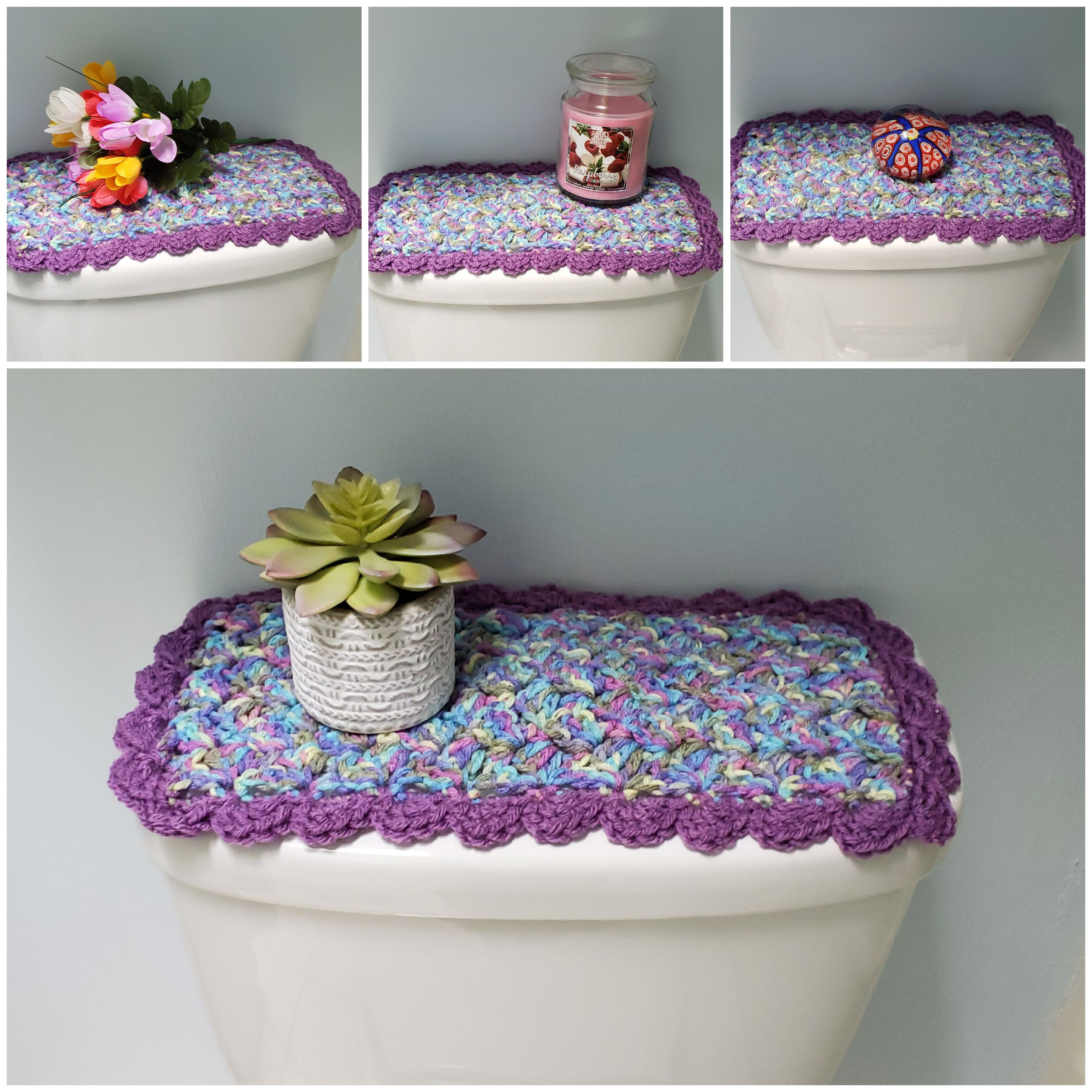Toilet Tank Topper Crochet Toilet Tank Topper Bathroom Decor Monet Medium Purple Ttt4b With Images Toilet Tank Crafts To Make And Sell Fingertip Towels