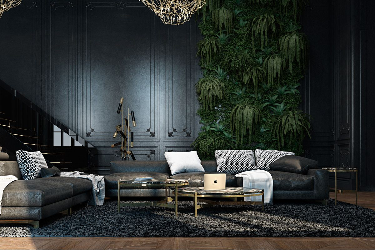 Abandoned fortress living room luscious green wall panel for Black in interior design