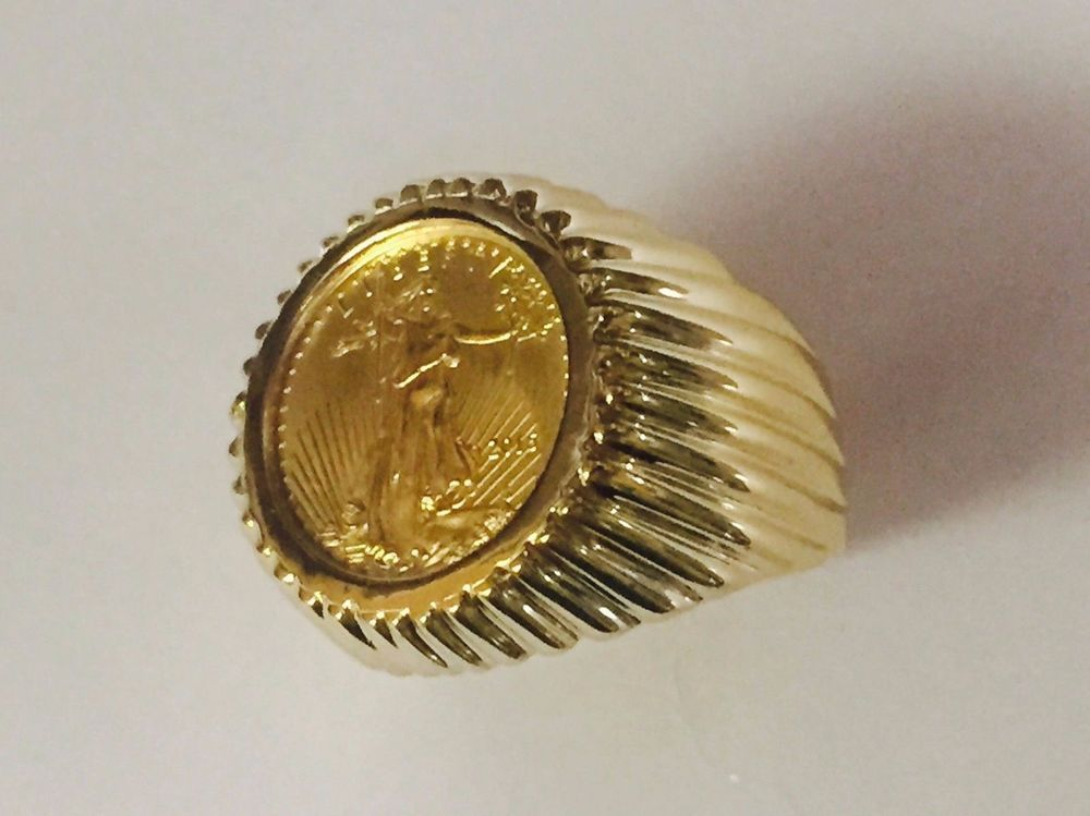 14k Yellow Gold Men S 21 Mm Coin Ring With A 22 K 1 0 Oz American Eagle Coin Ebay Coin Ring Yellow Gold Mens Rings Eagle Coin