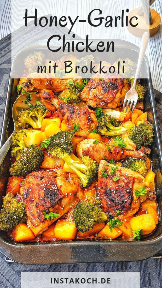 Honey-garlic Chicken mit Brokkoli und Kartoffeln aus dem Ofen - Instakoch.de #kartoffelnofen
