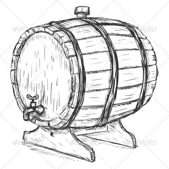 Wooden Wine Barrel Cartoon Clip Art Grape Drawing Vector Sketch