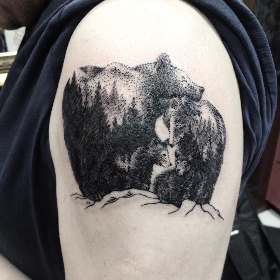 Sweet bear family dotwork/linework tatto Family tattoos
