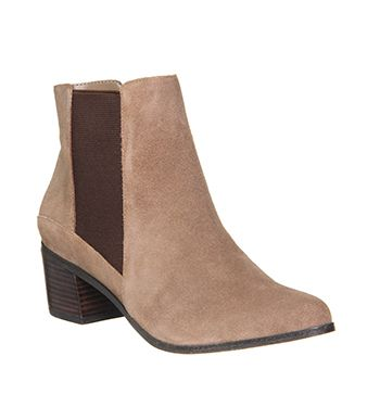 Office Fortune Western Chelsea Sand Suede Ankle Boots