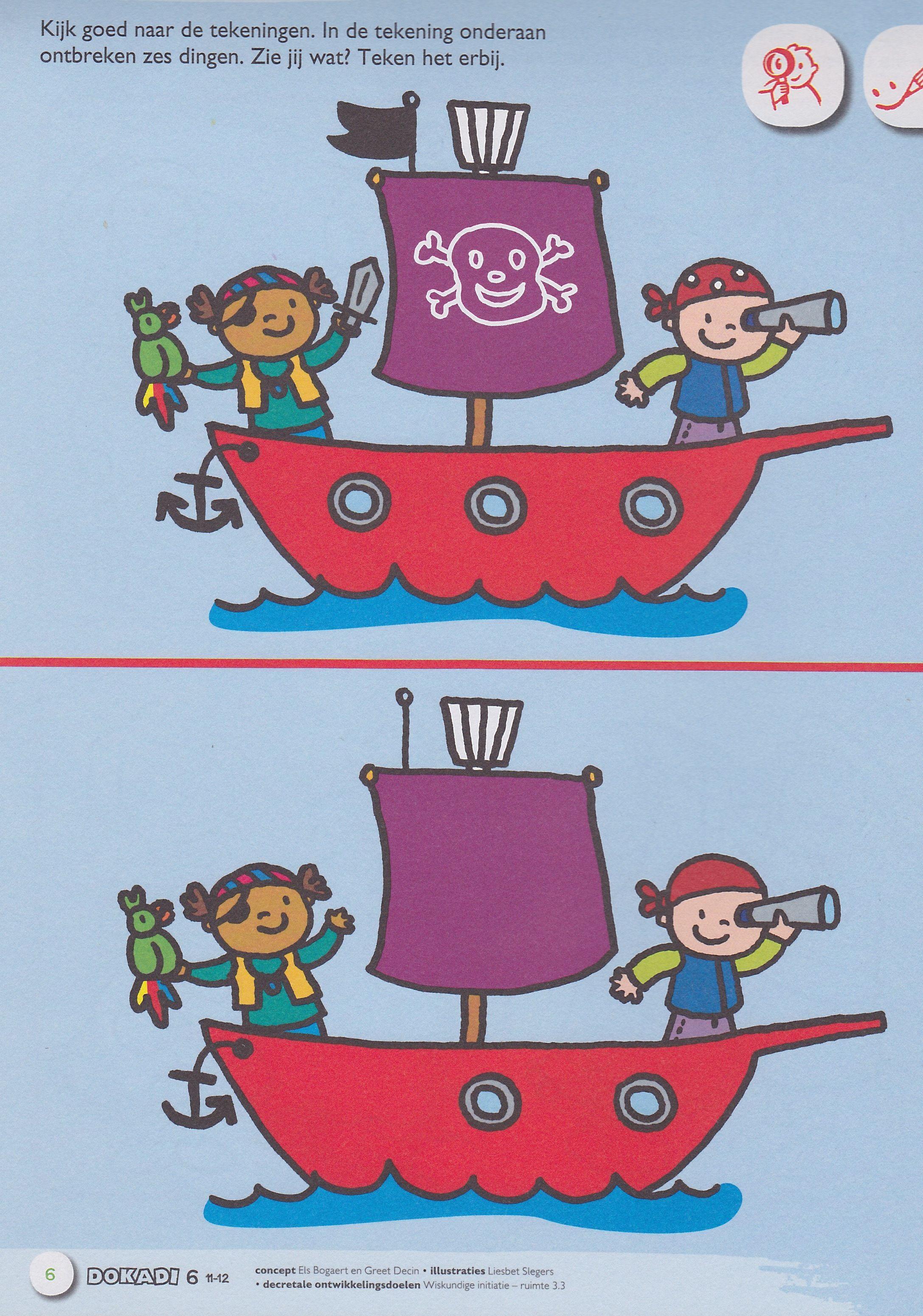 Uitgelezene Zoek de verschillen... | Пираты - Piraten, Piraat knutselen en WD-52