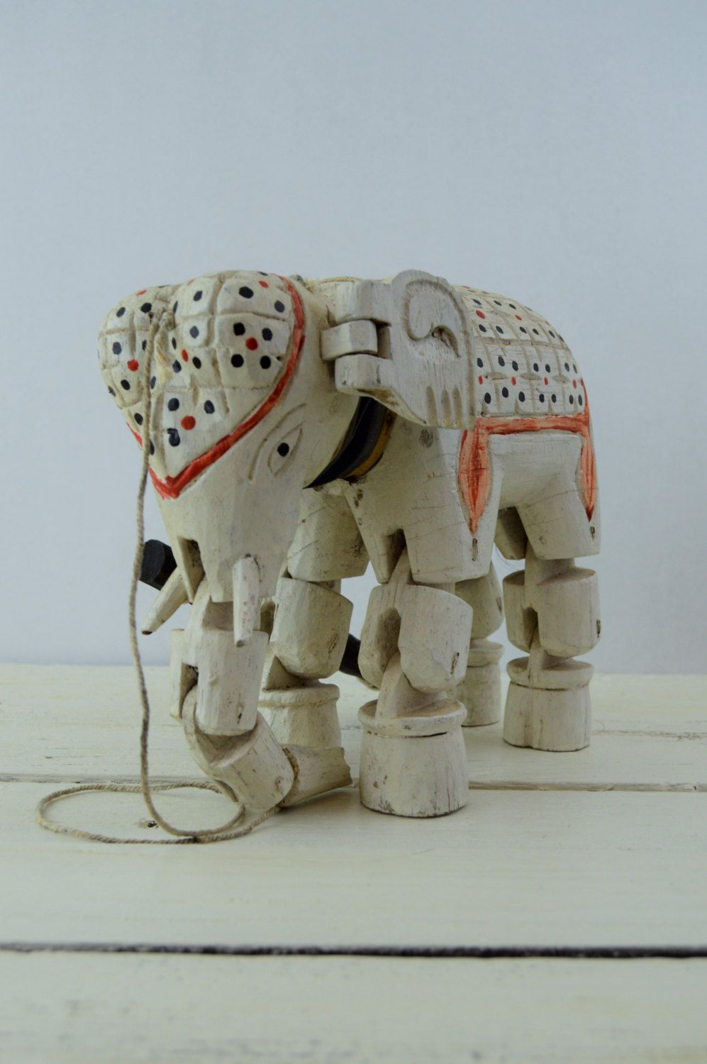 Wooden Marionette Elephant Vintage Wooden Puppet by GenerationUpcycle on Etsy