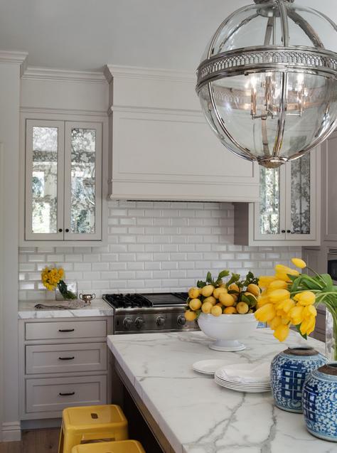 Kitchen Backsplash Beveled Subway Tile white beveled 3x6 subway tile backsplash, concealed hood | bulian