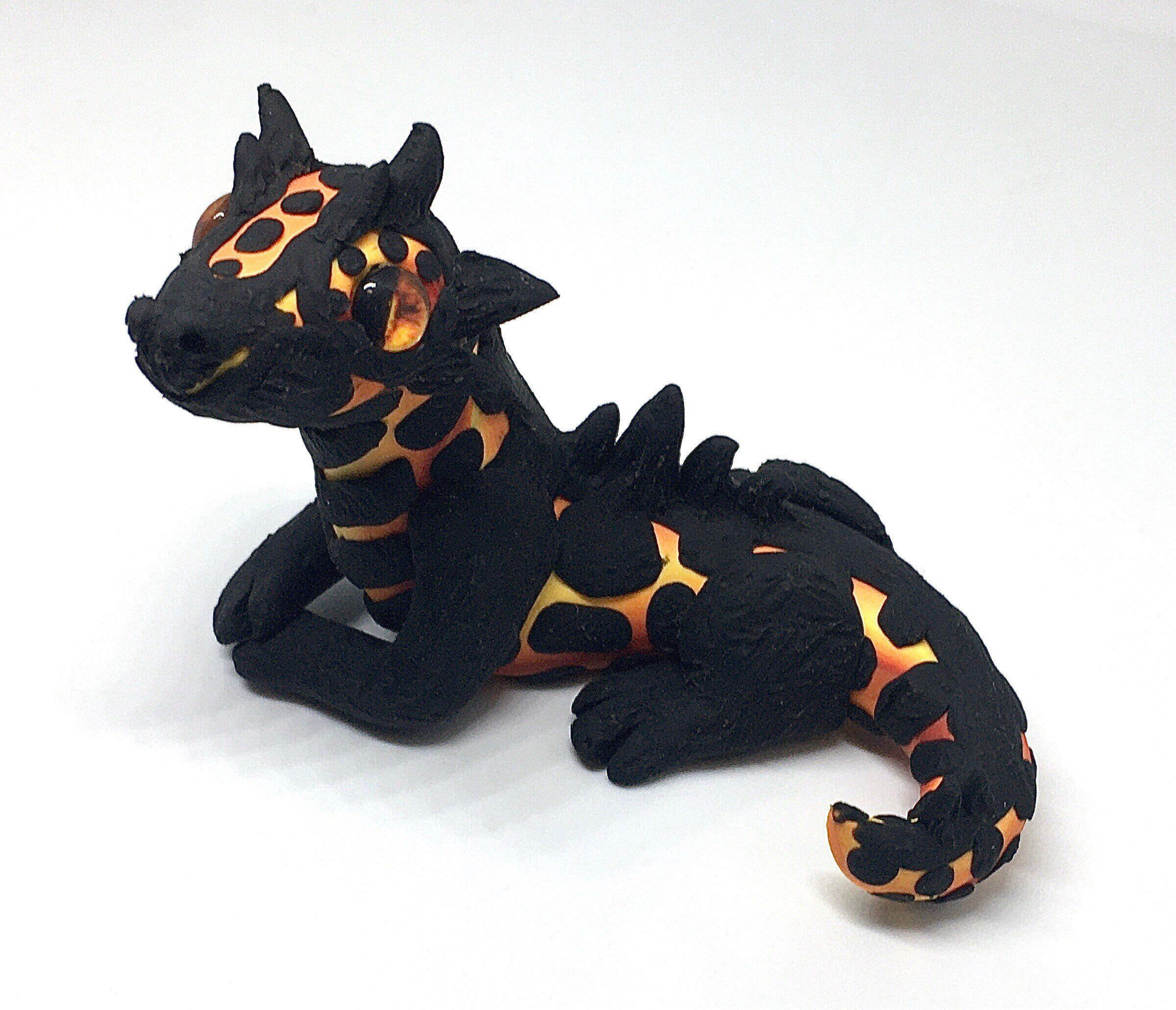 Realistic Red Orange Yellow Polymer Clay Dragon Sculpture Cute Fire Element Fantasy Animal Art
