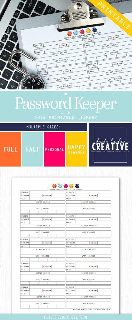 Password Keeper - Fit Life Creative Planner printable Pinterest