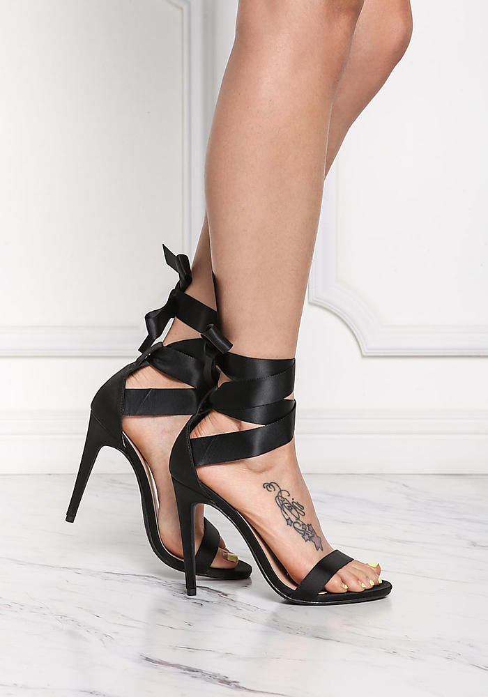 Black Satin Ribbon Lace Up Heels
