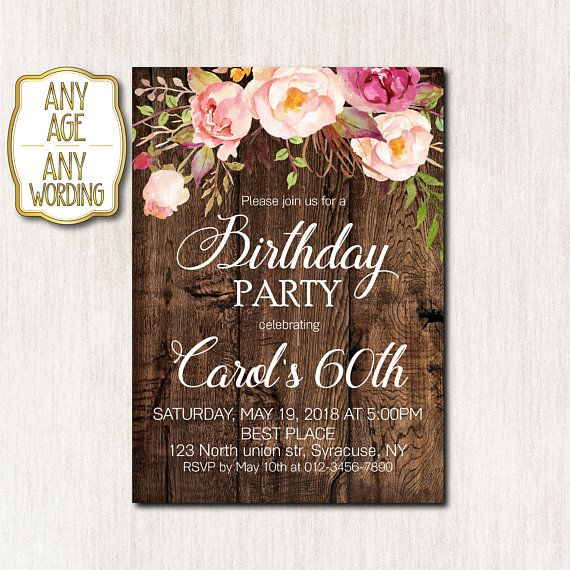Woman 60th Birthday Invitation Party Floral Invitat