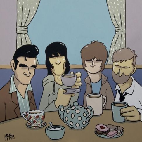 """Manchester Legends Print """"Steven, Ian, Noel and Guy enjoy a nice cuppa""""."""