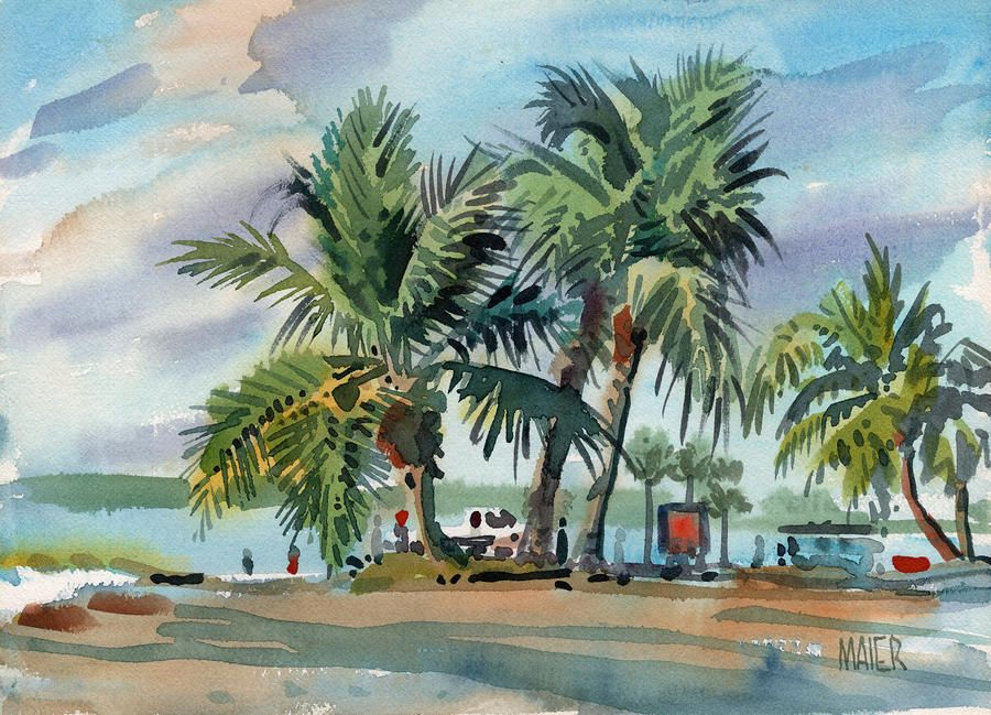 Palms On Sanibel Watercolor Paintings For Sale Painting