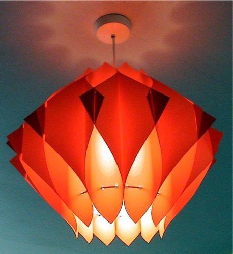 Vintage 70s Orange Plastic Lampshade Retro Danish Light Retro