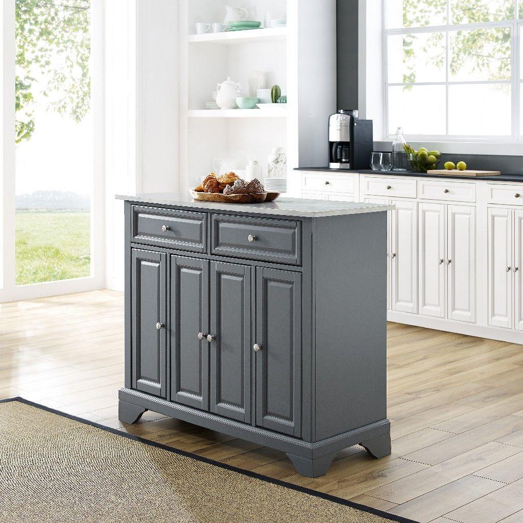 Avery Kitchen Island Gray Crosley Kf30043bgy In 2020 Grey Kitchen Island White Kitchen Cart Grey Kitchen