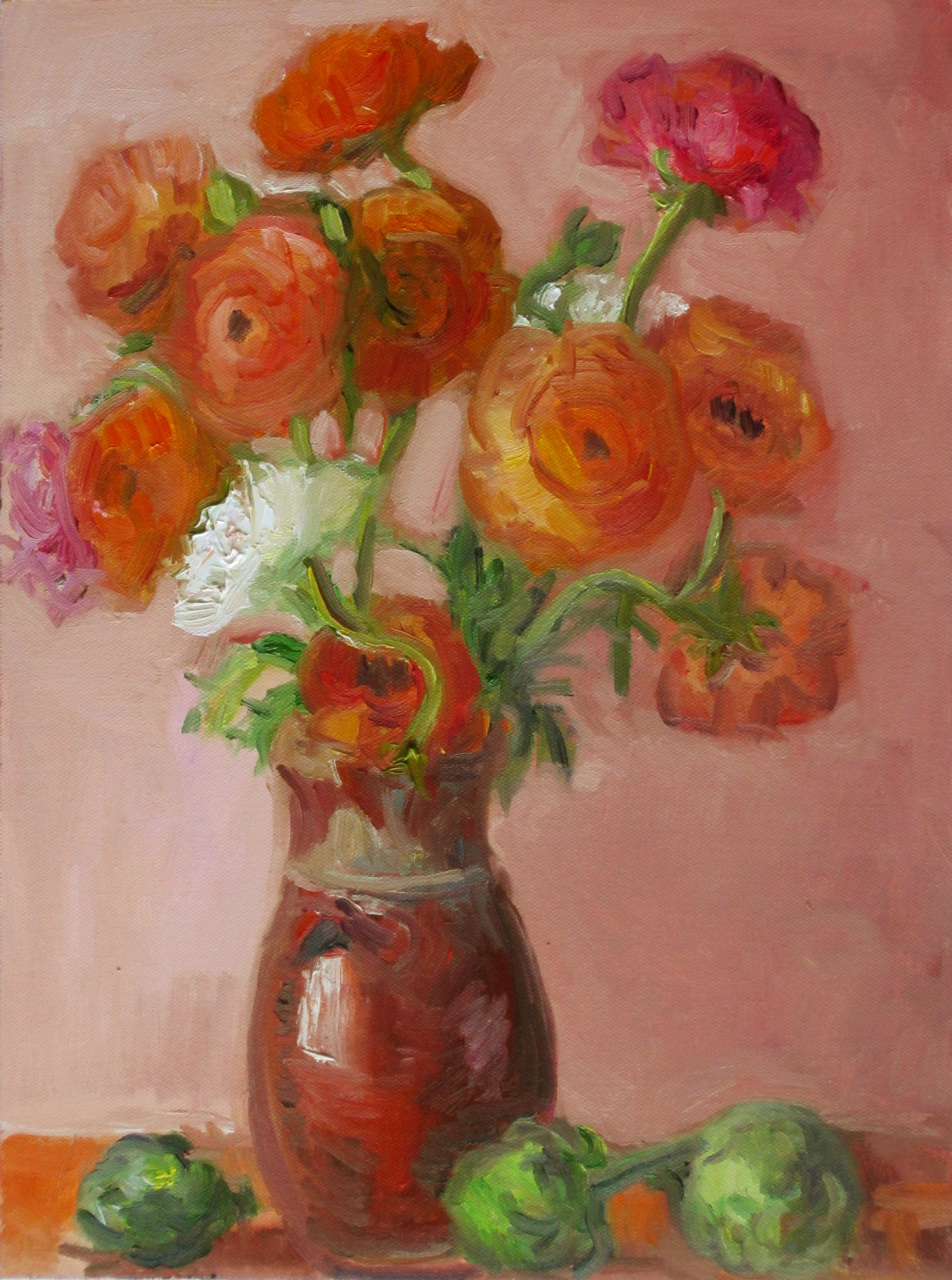 For Sale: Ranunculi in Sicilian Vase with Artichokes by Carol ...