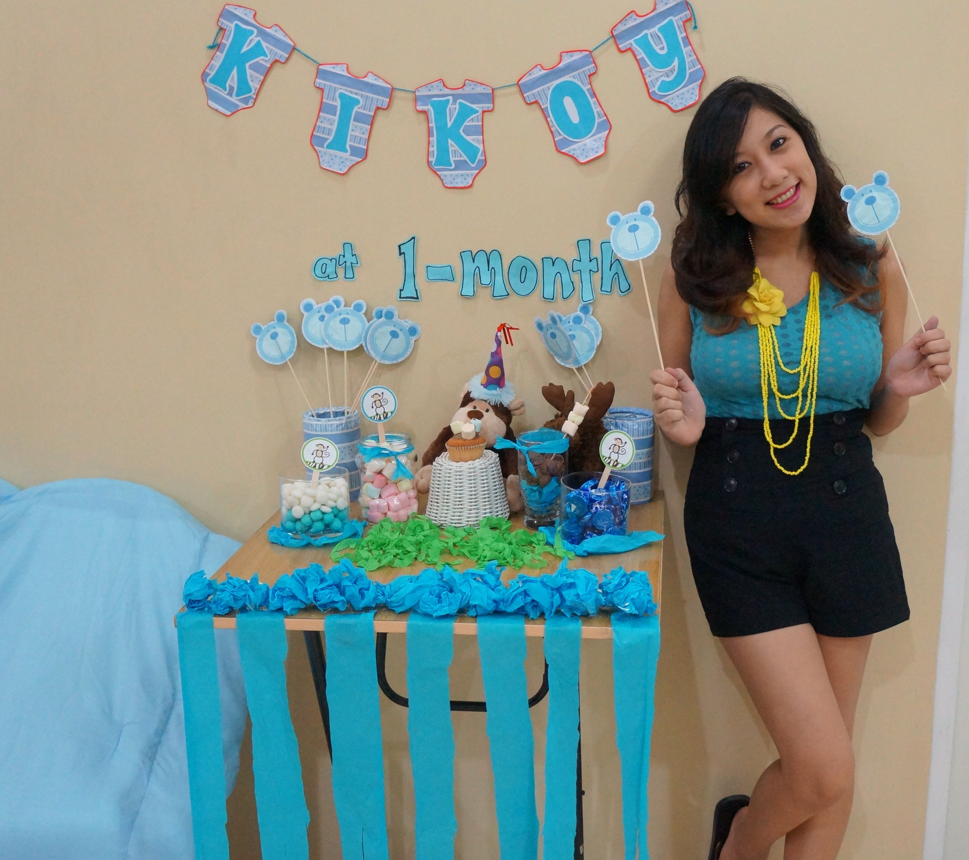 Blue Themed Mini Party Set Up For My Baby S 1 Month Old