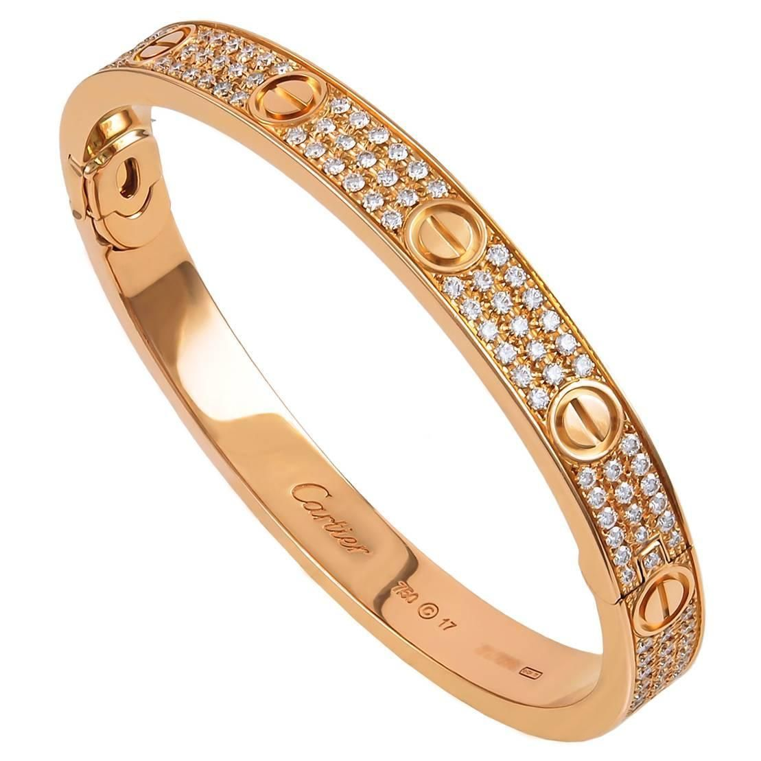 6711a6c56 Cartier Diamond Pave Gold Love Bracelet | From a unique collection of  vintage bangles at https