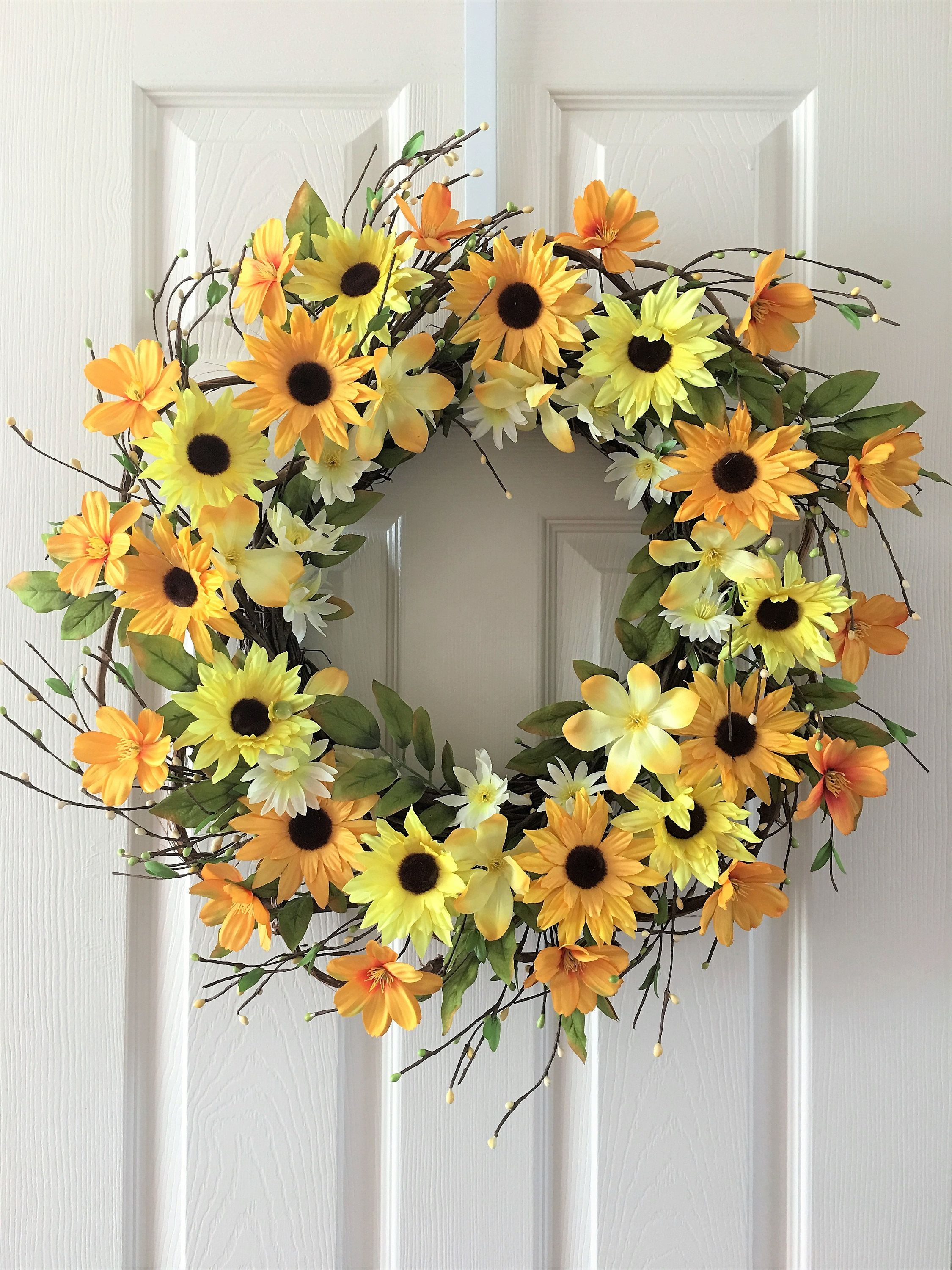 Flower Berry Wreath Summer For Front Door Everyday By H2hcreation On Etsy