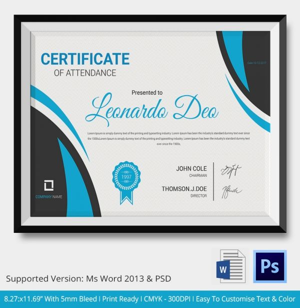 Attendance_Certificate 2 ar Pinterest Template, Business and - attendance certificate template