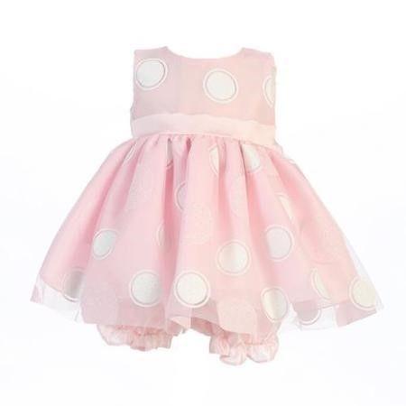 b78ebfdd0c46 Lito Baby Girls Pink Glittered Polka Dot Easter Dress Bloomer Set 6 ...