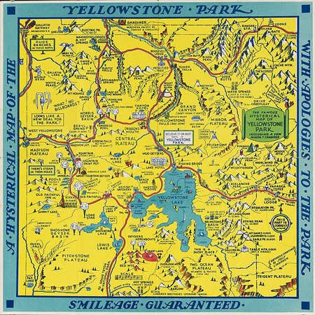 Souvenir Tourist Map of Yellowstone Park Wyoming 1936 obsessed