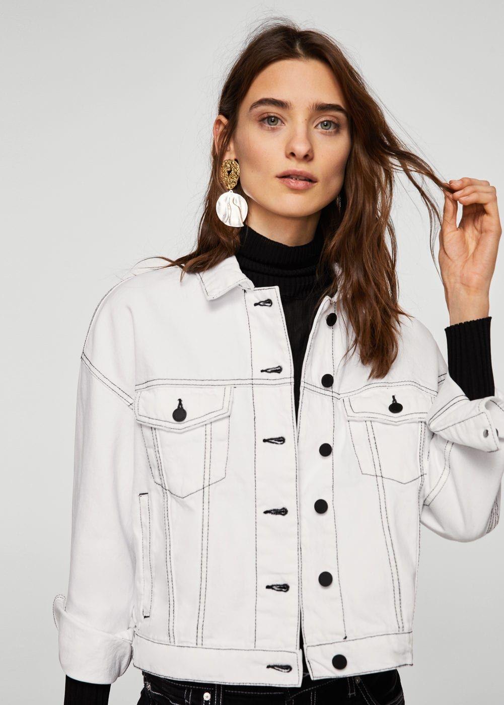 c2c1a7cc0ca94 Contrasted seams denim jacket - Women